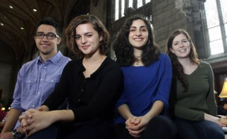 The University's 2014 Harry S. Truman Scholars (from left): Yusef Al-Jarani, Ava Benezra, Andrea Haidar, and Erin Simpson. All four students are pursuing...