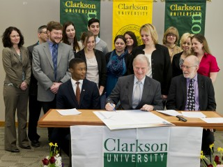 Front row (left to right): Clarkson President-for-a-day Anthony Spencer '17, Clarkson President Tony Collins, and Second Nature Presidential Fellows Program...