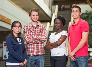 Pictured left to right:  Marisa Lim (Ecology and Evolution), Micah Mumper (Psychology), Dara Bobb-Semple (Chemistry) and Stephen Lee (Biomedical and Engineering)