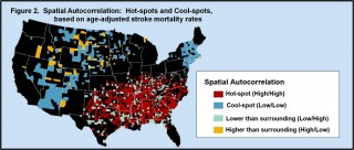 "Penn Medicine researchers identified clusters of ""hot"" spots - counties where the mortality rate from stroke was as much as 40 percent higher than..."