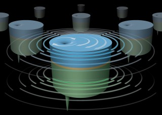 Stacked nanoscale magnetic vortices (blue and green discs) separated by an extremely thin layer of copper can be driven to oscillate in unison, potentially...