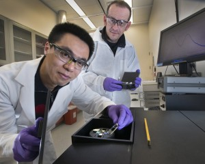 Zhongwei Liu, a graduate student from Stony Brook University, working with Brookhaven's Mircea Cotlet on a new type of DNA sensor at the Center for Functional...