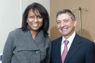 Kimberly Gosell and Dr. Enrico Benedetti, professor and head of surgery at the University of Illinois Hospital