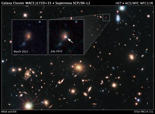 SUPERNOVA SCP/SN-L2 (CARACALLA): HUBBLE SPIES DISTANT SUPERNOVA WITH HELP FROM COSMIC LENS MACS J1720+35.  