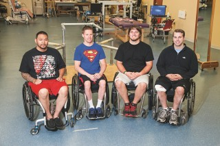 Andrew Meas, Dustin Shillcox, Kent Stephenson and Rob Summers, left to right, are the first four to undergo task-specific training with epidural stimulation...