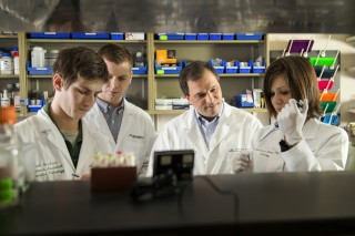 (third from left) Gregory Tsongalis, PhD, director of Molecular Pathology at Dartmouth-Hitchcock Norris Cotton Cancer Center