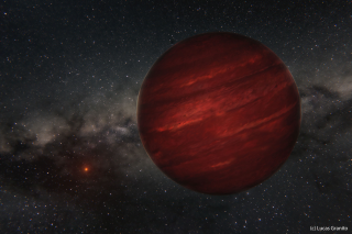 Artist's view of the planet GU Psc b and its star GU Psc.