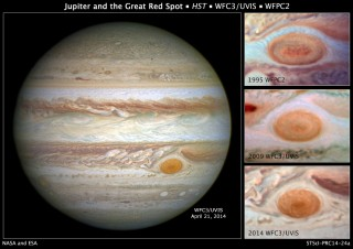 Jupiter's monster storm, the Great Red Spot, was once so large that three Earths would fit inside it. But new measurements by NASA's Hubble Space Telescope...