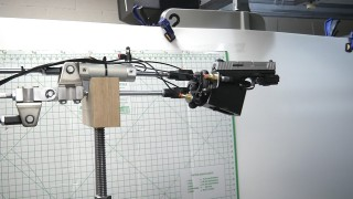 The Virtual Shooter's mechanical arm and hand replicates major human bone and muscular structure during the firing process.