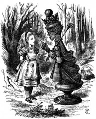 In the illustration, Alice meets the Red Queen.