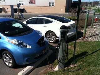 "Rensselaer Polytechnic Institute offers electric vehicle charging on campus. Pictured here in one of the campus parking lots, in the ""B"" parking lots..."