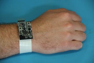 The Medcuff device, shown here in prototype form, will be enclosed in a watch-like band and have a screen with graphics.