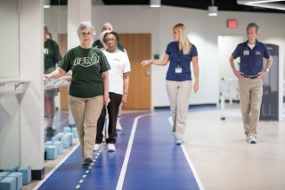 Older adults complete walking exercises at the University of Florida as part of the UF-led LIFE study. The study, which will be released May 27, examined...