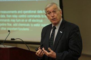 Dr. Ray Vaughn, UAH vice president for research, during a lecture on industrial control systems security. Dr. Vaughn says there are 10 top concerns with...