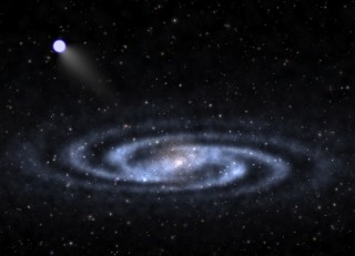 An astrophysicist-artist's conception of a hypervelocity star speeding away from the visible part of a spiral galaxy like our Milky Way and into the invisible...