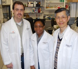 UTHealth scientists working on fundamental molecular mechanisms tied to brain tumor growth are from left to right Eric J.Wagner, Ph.D., Chioniso P. Masamha,...