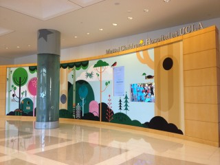 The colorful Welcome Wall greets patients and visitors upon entering Mattel Children's Hospital UCLA.
