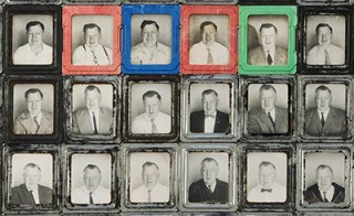 Nine of the 445 photobooth self-portraits taken by Franklyn Swantek over the course of three decades.