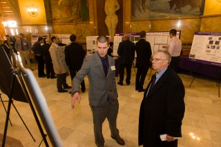 Lance Noll, Kansas State University master's student in veterinary biomedical science, presents his research poster at the Capitol Graduate Research Summit...