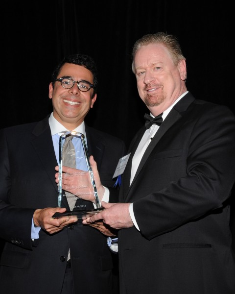 Arthur J. Ochoa, left, Cedars-Sinai senior vice president of Community Relations and Development, receives the Mexican American Bar Foundation's Professional Achievement Award from Christopher David Ruiz Cameron, Southwestern Law School professor and director of MABF's Awards Gala.