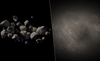 An artist's conception of two possible views of asteroid 2011 MD.