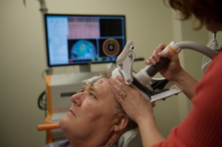 Shepherd Center patient Kim Mullins participates in a Nexstim clinical trial testing a brain stimulation therapy for people who have had a stroke.