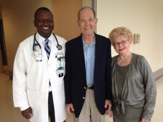 UAB interventional cardiologist Seun Alli performed the MitraClip procedure on 83-year-old Bill York of Cullman, Ala. York's health has improved significantly...