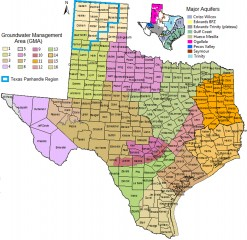 The Texas A&M AgriLife Research study utilized information and boundaries identified by the Texas Water Development Board. This map depicts both GMAs and the smaller...