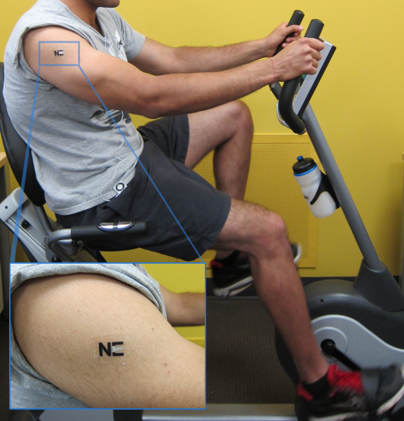 A tattoo biosensor (enlarged above) detects lactate levels during exercise; a biobattery using the technology could power electronics.