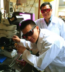 Dr Lu Junpeng (left) and Professor Sow Chorng Haur (right) from the Department of Physics at the NUS Faculty of Science working with the customised focused...