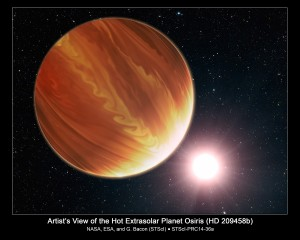 ARTIST'S CONCEPT OF THE HOT PLANET OSIRIS.   This is an artistic illustration of the gas giant planet HD 209458b (unofficially named Osiris) located 150 light-years...