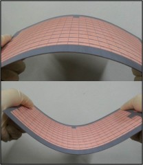 This image shows the flexibility of the team's metamaterial absorber.