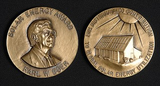 Front and back of the Karl W. Böer Solar Energy Medal of Merit, to be presented in 2015, along with a $60,000 cash prize, in a ceremony at the University...