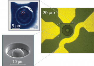 These images show the diamond sample with a hemispherical lens (right and lower left), and the location of a single electron spin/quantum state visible...