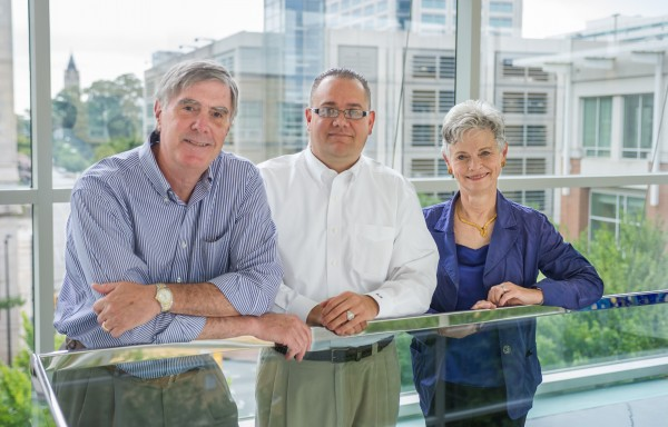 From left to right, Jerry Thursby, Matthew Higgins and Marie Thursby. The research team identified bottlenecks in the development of biopharmaceutical products and proposes a way to avoid the setbacks.