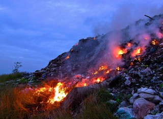 Open burning of trash, as seen here in General Santos, Philippines, is a global phenomenon that has significant effects on air quality.