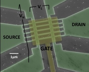 Scanning Electron Microscope micrograph of multigate InGaAs nanowire field effect transistor with an array of five nanowires of width 40 nm