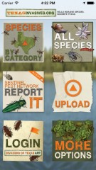 The homescreen of the TX Invasives mobile app allows iPhone and Android users to see details on invasive species threatening Texas, to post a sighting...
