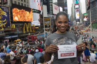"Six-time Tony Award winner Audra McDonald, star of the smash hit Lady Day, is ""going grey"" in Times Square for World Elephant Day."