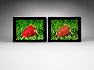 Quantum dots make greens and reds pop on screens (left) compared with other types of displays (right).
