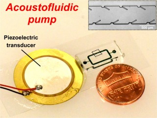 An acoustically powered pumping device with 250 micron long oscillating structures driven by a piezoelectric transducer mounted on a glass slide