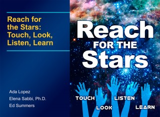 "This is the cover art for the free, multi-touch iBooks textbook entitled ""Reach for the Stars: Touch, Look, Listen, Learn."" Astronomers at the Space Telescope..."