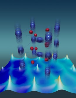 Vanadium atoms (blue) have unusually large thermal vibrations that stabilize the metallic state of a vanadium dioxide crystal. Red depicts oxygen atoms.