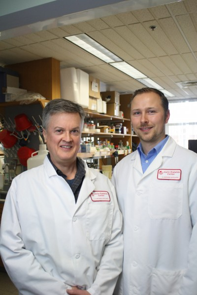 T. Keith Blackwell, M.D., Ph.D., Associate Research Director at Joslin and Professor of Genetics at Harvard Medical School, and Collin Ewald, Ph.D., Research Fellow at Joslin.