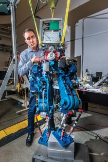 Steve Buerger is leading a Sandia National Laboratories project to demonstrate how energy efficient biped walking robots could become. Increased efficiency could enable bots to operate for much longer periods of time without recharging batteries, an important factor in emergency situations.