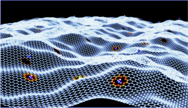 This sheet of graphene contains an array of crown ethers that can strongly bind select guest ions or molecules.
