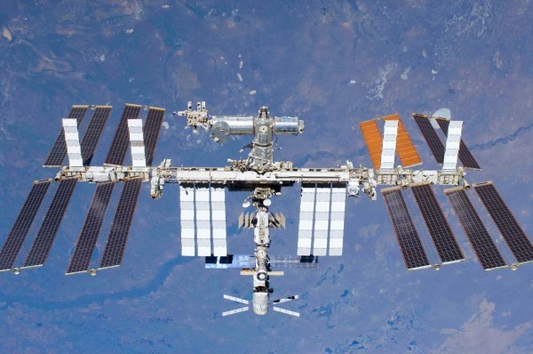 The International Space Station (as photographed by an STS-134 crew member on the space shuttle Endeavour, after the station and shuttle began their post-undocking relative separation).