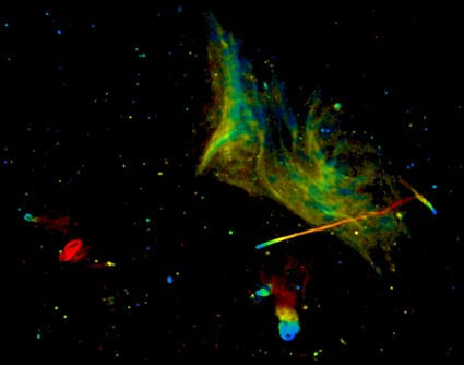 Newswise: Image Release: Mysterious Phenomena in a Gigantic Galaxy-Cluster Collision
