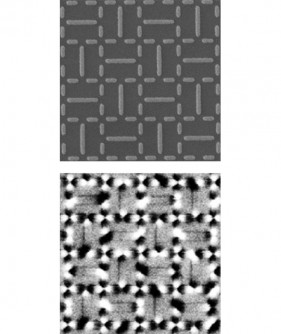 "Scanning electron micrograph (top) shows the arrangement of iron-nickel nanomagnets for the newly developed ""shakti"" artificial spin ice lattice. In the lattice, 2, 3, and 4 nanomagnets meet in periodic arrays. Magnetic force microscope image (bottom) shows the poles of the nanomagnets (dark and light contrast)."