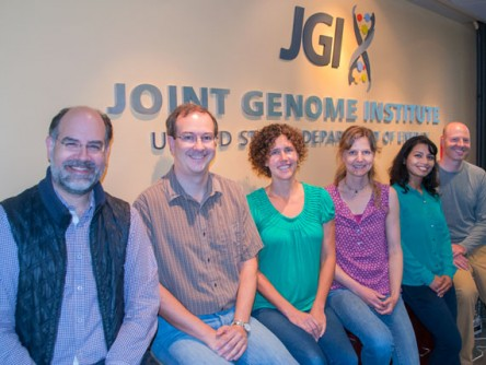From left to right, several of the authors of the ProDeGe paper published in The ISME Journal: Nikos Kyrpides, Scott Clingenpeel, Kristin Tennessen, Tanja Woyke, Amrita Pati, and Evan Andersen. Tennessen will talk about ProDeGe at the September 2015 Microbial Genomics & Metagenomics Workshop (http://mgm.jgi.doe.gov/) at the DOE JGI.